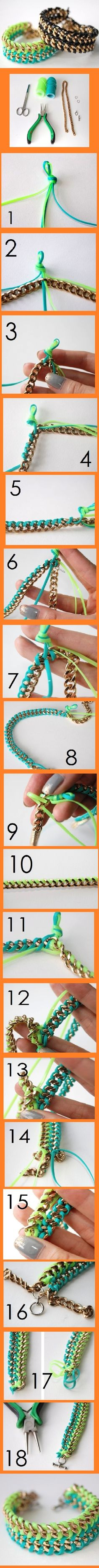 plastik kordonla zincir bileklik susleme