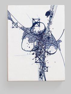 Asvirus 42 - 2013 ink on paper mounted to panel 7.25 x 5.5 x 2.75 in - Derek Lerner