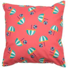 """Nothing says """"a day at the beach"""" like our new Beach Umbrellas and Beach Balls seaside 20"""" x 20"""" pillow!"""
