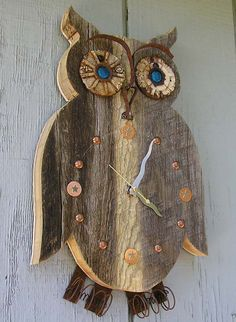 Rustic+Owl+Barn+Wood+Clock++Reclaimed+Wood+by+RusticSpoonful,+$80.00