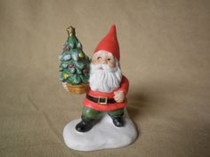 Vintage Enesco Ceramic Santa Claus Gnome Figurine with Christmas Tree  1979