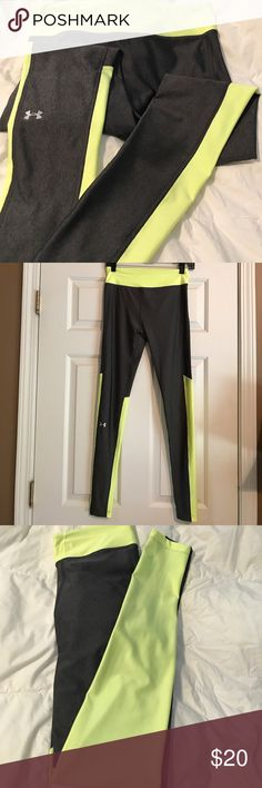 UA women's compression pants Under Armour dark gray and neon yellow compression pants/leggings.. perfect for running/yoga or any type of workout.. heatgear and anti-odor fabric.. worn twice.. no stains or picks.. please message for any questions or additional pictures.. thanks for looking Under Armour Pants Leggings