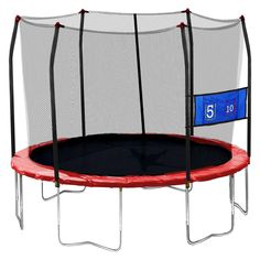 Skywalker Trampolines 12' Round Jump-N-Toss Trampoline with Enclosure - Red,