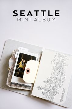Seattle Mini Album using a greeting card