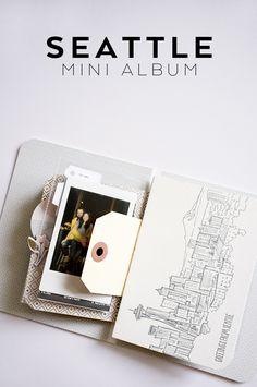 Seattle Mini Album using a greeting card