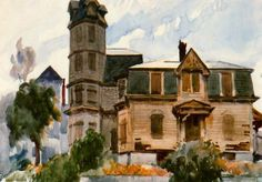 (Victorian House), Edward Hopper, watercolor and graphite pencil on paper, 13 × 19 Whitney Museum of American Art: Paul Klee, Robert Rauschenberg, Manet, Toulouse, Edward Hopper Paintings, Ashcan School, Joseph Mallord William Turner, Most Famous Artists, Statues