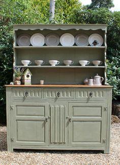 Vintage Large Shabby Chic Rustic Oak Dresser - Annie Sloan Chateau Grey paint   eBay