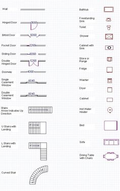 Blueprint Symbols Free Glossary Floor Plan Symbols For Engineer Requirement and Readyman Requirement for drawing floor plans and fire escape routes Architecture Symbols, Architecture Blueprints, Architecture Plan, Blueprints For Homes, Architecture Student, Blueprint Symbols, Floor Plan Symbols, Interior Design Tips, Interior Design Drawing