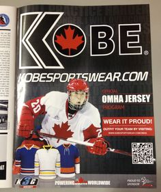 Whoa! In your face Kobe K3G ad at the back of Hometown Hockey's magazine! Keep an eye out for our spring newsletter coming out next week which will also have information on this program! www.hometownhockey.com