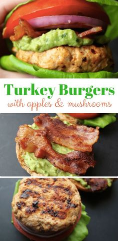 Turkey Burgers with Apples and Mushrooms. A great healthy recipe for lunch or di… Turkey burger with apples and mushrooms. A great healthy recipe for lunch or dinner. I keep my carbs low by skipping the bun. Paleo Turkey Burgers, Homemade Turkey Burgers, Ground Turkey Burgers, Turkey Burger Recipes, Ground Turkey Recipes, Lunch Recipes, Healthy Recipes, Beef Burgers, Hamburger Recipes