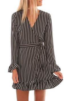 Ophelia Stripe Wrap Dress Black Ivory