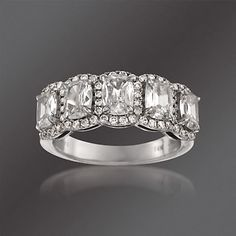 Henri Daussi 2.19 ct. t.w. Diamond 5-Stone Ring in 14kt White Gold