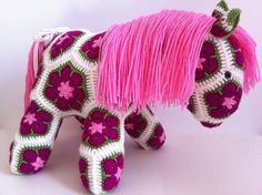 Pink Crochet African Flower Pony by BlackFishes on Etsy