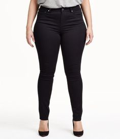 5-pocket jeans in washed, superstretch denim with slim legs and regular waist.