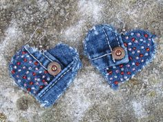 Earrings - Heart Shaped Recycled Lucky Brand Denim Hand Beaded Perfect for Valentines Day Upcycled. 15.00, via Etsy.