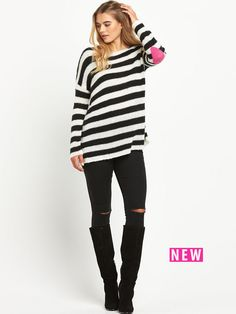 South Heart Elbow Patch Stripy Jumper