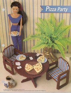 Fashion doll Annie/'s Attic plastic canvas sun room furniture Barbie Ken doll chair table planter