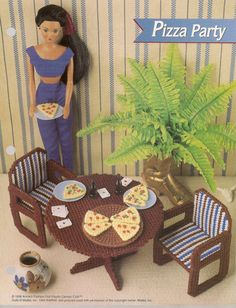 Fashion Doll Pizza Party Set Plastic by needlecraftsupershop, $2.95