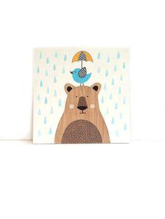 "Wood Wall Art - 12"" x 12"" Bear Nursery Art - Bird Nursery Decor - Woodland Nursery Art - Woodland Animals - Cute Bear Art - Baby Room Decor"