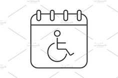 Disability day linear icon. Human Icons