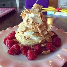 You know it's going to be a long day when you don't eat breakfast until 11 AM  yummy stack today  Vanilla Ice Cream protein pancakes  topped with pb2 + vanilla Greek yogurt  peanut butter Cinnamon Toast Crunch  Raspberries  Truwhip #always 53c/14f/45p #skinnymegfood #iifym