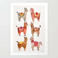 Buy Alpacas Art Print by Cat Coquillette. Worldwide shipping available at Society6.com. Just one of millions of high quality products available.