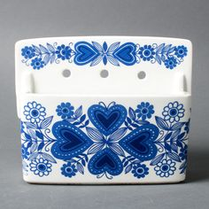 arabia box sirpa finland collectible faience flowers mid century white blue kitchen scandinavian