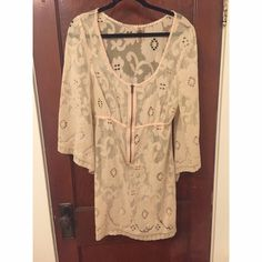 Free People dress Free People crochet dress. Long sleeve with zip detail on bust. Worn once! Free People Dresses Long Sleeve