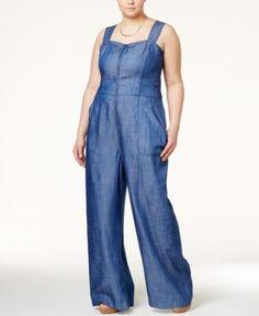 RACHEL Rachel Roy Curvy Plus Size Denim Wide-Leg Jumpsuit