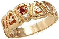 #Jewelry Mens 0.09CTW Diamond And Ruby 14K Yellow Gold Ring