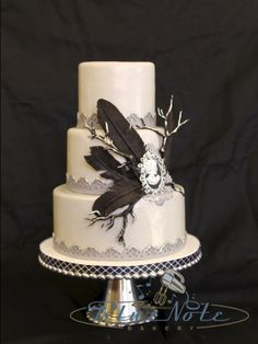 Edgar Allen Poe themed wedding just the right amount of edge Wedding Cake Designs, Wedding Cake Toppers, Wedding Cakes, Edgar Allen Poe, Edgar Allan, Gothic Wedding Cake, Wedding Blue, Dream Wedding, Gothic Birthday Cakes