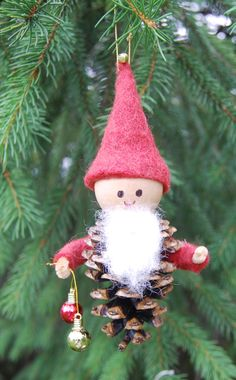 Pinecone Gnome with Red Felt hat