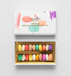 Bonnard is a Mexican french-inspired tea and confectionary shop. Macaroon Packaging, Pretty Packaging, Macarons, Macaron Cookies, Brand Packaging, Packaging Design, Branding Design, Packaging Ideas, Color Inspiration