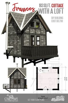 Absolutely charming Micro House Plans with Loft. Like all micro home plans with loft, Frances is designed mainly for short-term living. The floor and the walls are insulated well enough to withstand even harsh winters. Micro House Plans, House Plan With Loft, Tiny House Loft, Tiny House Trailer, Small House Plans, Cabin Plans, Shed Plans, Building Costs, Room Furniture Design