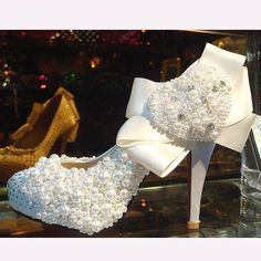 Make to order hand sew princess crystal shoes wedding shoes white pearl