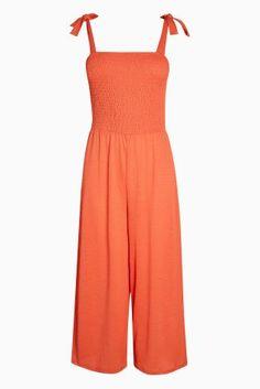 Orange Smocking Jumpsuit