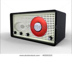 Black retro radio with vintage dial isolated on white
