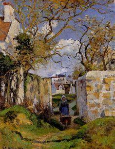 """Camille Pissarro (1830-1903) ~ """"Paysanne Poussant une Brouette (Peasant Pushing a Wheelbarrow),  Maison Rondest, Pontoise"""" ~ Huile sur Toile, 1874"""