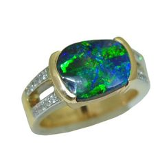 Opal Ring with 0.20 Cttw. Diamonds https://www.goldinart.com/shop/colored-gemstone-rings/opal-ring-with-0-20-cttw-diamonds #14KaratYellowGold, #OpalRing