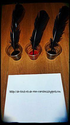 De tout et de rien: Activités pour le Préscolaire: Prête-moi ta plume pour un écrire un mot! Coin écriture