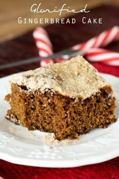 Glorified Gingerbread Cake >> by Tastes of Lizzy T's. A warm piece of this simple Glorified Gingerbread Cake will be ready to eat in just an hour. Serve it with a dollop of whip cream on top for a light, festive dessert. Amazing Cake for holiday Mini Desserts, Light Desserts, Christmas Desserts, Just Desserts, Christmas Treats, Christmas Baking, Christmas Recipes, Layered Desserts, Italian Desserts
