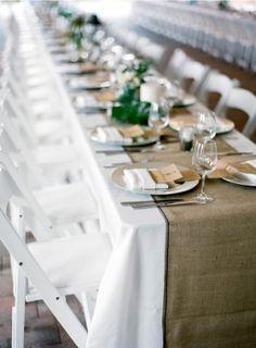 long tables + burlap by fern