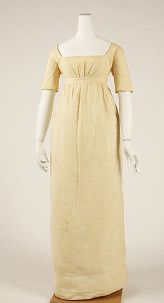 Dress (Underdress)  Date: ca. 1810 Culture: American Medium: cotton    Okay... it's white, but at least not poofy.  I love the shape!