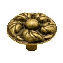 Jaladera botón Flor chica latón antiguo Rish