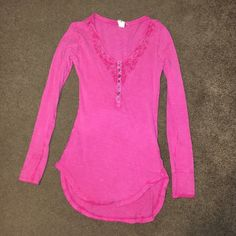 Free People long sleeve shirt Bright pink, crochet detail on neckline, in GREAT condition Free People Tops Tunics