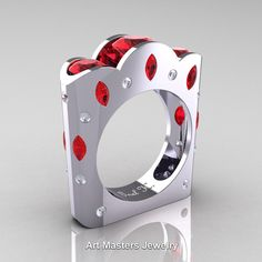 French 14K White Gold Three Stone Round and Marquise Ruby Diamond Wedding Ring R733-14KWGDR | ArtMastersJewelry