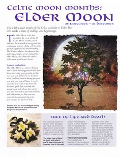 Moon:  Celtic #Moon Months: Elder Moon.