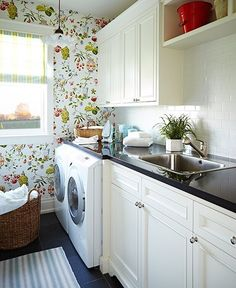 Chinoiserie Wallpaper Laundry Room Photo Gallery: Sarah Richardson Designs House & Home Photo by Angus Fergusson Farmhouse Laundry Room, Farmhouse Rugs, Modern Farmhouse Style, Laundry Rooms, Home Modern, Victorian Farmhouse, Laundry Area, Laundry Closet, Coastal Farmhouse