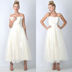 Vintage 50s 60s White + Ivory Wedding Dress Tulle Lace Maxi Full Strapless S 1710