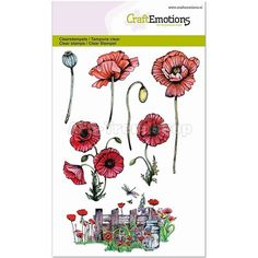 CraftEmotions Clear Stamp A6 - Poppy fields - Mohnblumen, Zaun, AFS-T